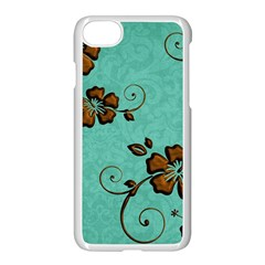 Chocolate Background Floral Pattern Apple Iphone 7 Seamless Case (white) by Nexatart