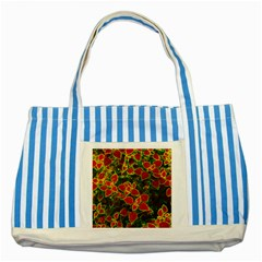 Flower Red Nature Garden Natural Striped Blue Tote Bag by Nexatart