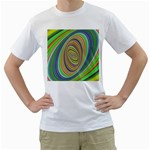 Ellipse Background Elliptical Men s T-Shirt (White) (Two Sided)