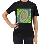 Ellipse Background Elliptical Women s T-Shirt (Black) (Two Sided)