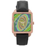 Ellipse Background Elliptical Rose Gold Leather Watch
