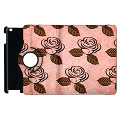Chocolate Background Floral Pattern Apple Ipad 3/4 Flip 360 Case by Nexatart