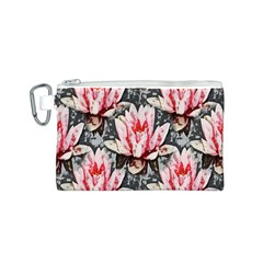 Water Lily Background Pattern Canvas Cosmetic Bag (s) by Nexatart