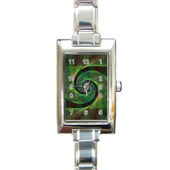 Green Spiral Fractal Wired Rectangle Italian Charm Watch