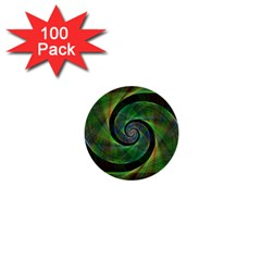 Green Spiral Fractal Wired 1  Mini Buttons (100 Pack)  by Nexatart