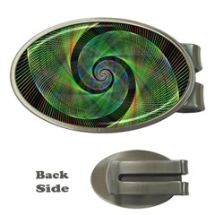 Green Spiral Fractal Wired Money Clips (oval)  by Nexatart