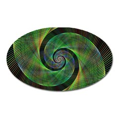 Green Spiral Fractal Wired Oval Magnet by Nexatart