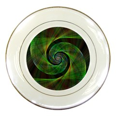Green Spiral Fractal Wired Porcelain Plates