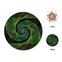 Green Spiral Fractal Wired Playing Cards (round)  by Nexatart