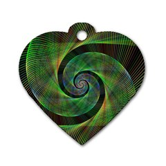 Green Spiral Fractal Wired Dog Tag Heart (one Side) by Nexatart