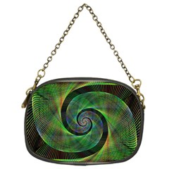 Green Spiral Fractal Wired Chain Purses (two Sides)  by Nexatart
