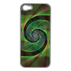 Green Spiral Fractal Wired Apple Iphone 5 Case (silver) by Nexatart