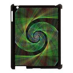 Green Spiral Fractal Wired Apple Ipad 3/4 Case (black) by Nexatart