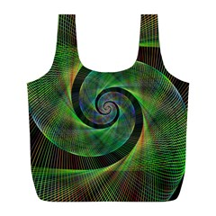 Green Spiral Fractal Wired Full Print Recycle Bags (l)  by Nexatart