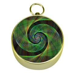 Green Spiral Fractal Wired Gold Compasses by Nexatart