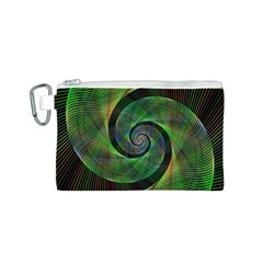 Green Spiral Fractal Wired Canvas Cosmetic Bag (s) by Nexatart