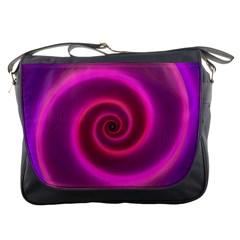 Pink Background Neon Neon Light Messenger Bags by Nexatart