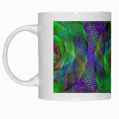 Fractal Spiral Swirl Pattern White Mugs by Nexatart
