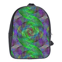 Fractal Spiral Swirl Pattern School Bag (xl) by Nexatart