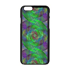 Fractal Spiral Swirl Pattern Apple Iphone 6/6s Black Enamel Case by Nexatart