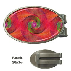 Red Spiral Swirl Pattern Seamless Money Clips (oval)  by Nexatart