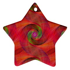 Red Spiral Swirl Pattern Seamless Star Ornament (two Sides) by Nexatart