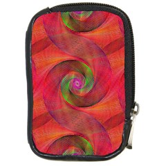 Red Spiral Swirl Pattern Seamless Compact Camera Cases by Nexatart