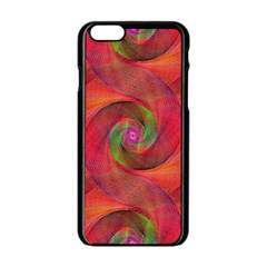 Red Spiral Swirl Pattern Seamless Apple Iphone 6/6s Black Enamel Case by Nexatart