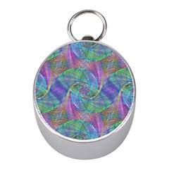 Spiral Pattern Swirl Pattern Mini Silver Compasses by Nexatart