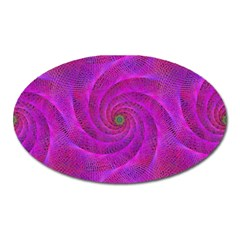 Pink Abstract Background Curl Oval Magnet by Nexatart