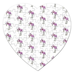 Sweet Flamingo Pattern Jigsaw Puzzle (heart) by MoreColorsinLife
