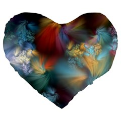 Evidence Of Angels Large 19  Premium Heart Shape Cushions by WolfepawFractals