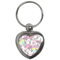 Unicorn Rainbow Key Chains (heart)  by Nexatart