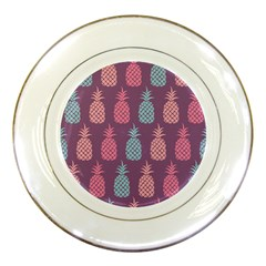 Pineapple Pattern Porcelain Plates by Nexatart