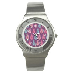 Pineapple Pattern Stainless Steel Watch by Nexatart