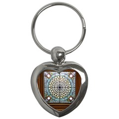 Stained Glass Window Library Of Congress Key Chains (heart)  by Nexatart