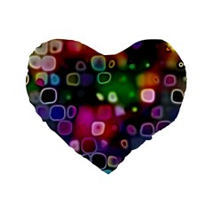 Psychedelic Lights 2 Standard 16  Premium Flano Heart Shape Cushions by MoreColorsinLife