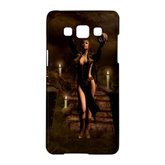 The Dark Side, Dark Fairy With Skulls In The Night Samsung Galaxy A5 Hardshell Case  by FantasyWorld7