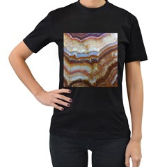 Wall Marble Pattern Texture Women s T Shirt (black) (two Sided)