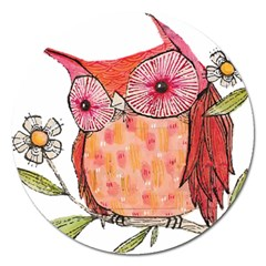 Summer Colourful Owl T Shirt Magnet 5  (round) by AmeeaDesign