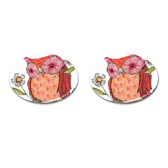 Summer Colourful Owl T Shirt Cufflinks (oval) by AmeeaDesign