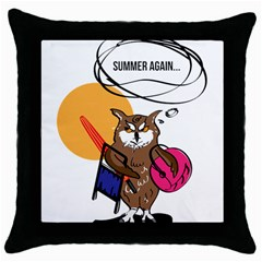 Owl That Hates Summer T Shirt Throw Pillow Case (black) by AmeeaDesign