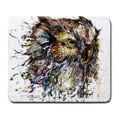 Angry And Colourful Owl T Shirt Large Mousepads by AmeeaDesign
