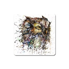 Angry And Colourful Owl T Shirt Square Magnet by AmeeaDesign