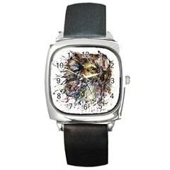 Angry And Colourful Owl T Shirt Square Metal Watch by AmeeaDesign