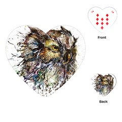 Angry And Colourful Owl T Shirt Playing Cards (heart)  by AmeeaDesign
