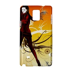 Girl Autumn Grass  Samsung Galaxy Note 4 Hardshell Case by amphoto