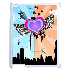 Couple Hugging Heart Apple Ipad 2 Case (white) by amphoto