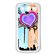 Couple Hugging Heart Samsung Galaxy S3 Back Case (white) by amphoto
