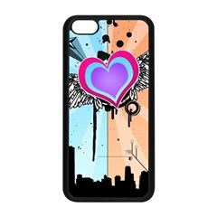 Couple Hugging Heart Apple Iphone 5c Seamless Case (black) by amphoto